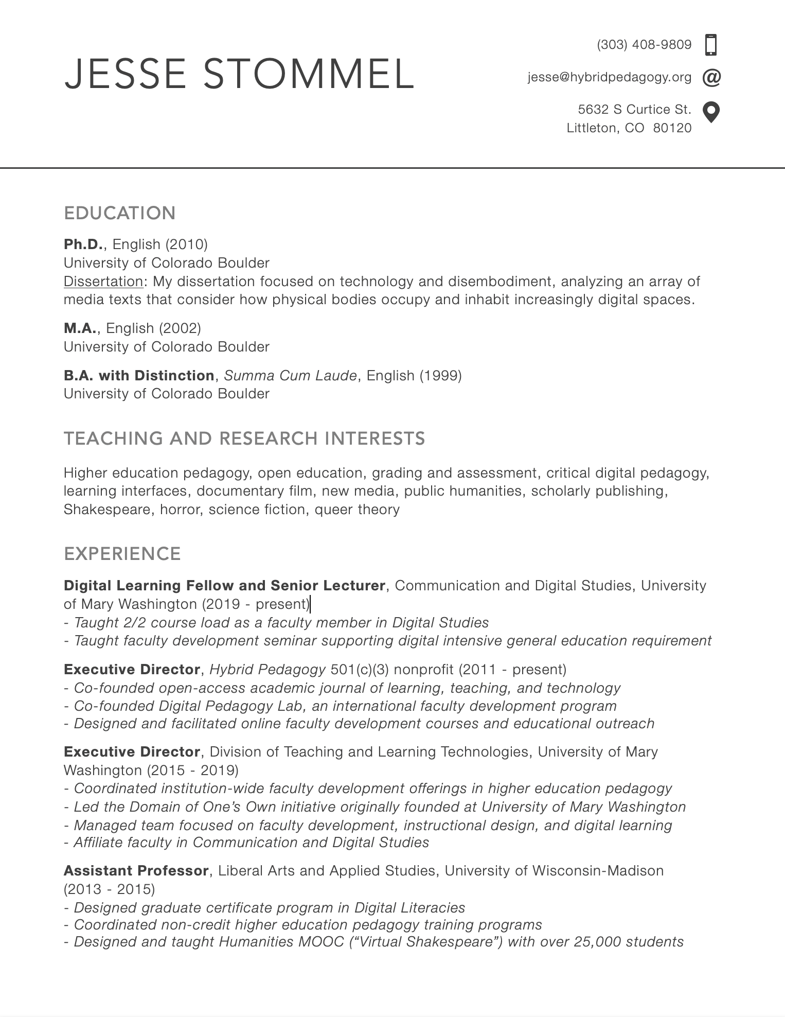 Image of first page of Jesse Stommel's CV