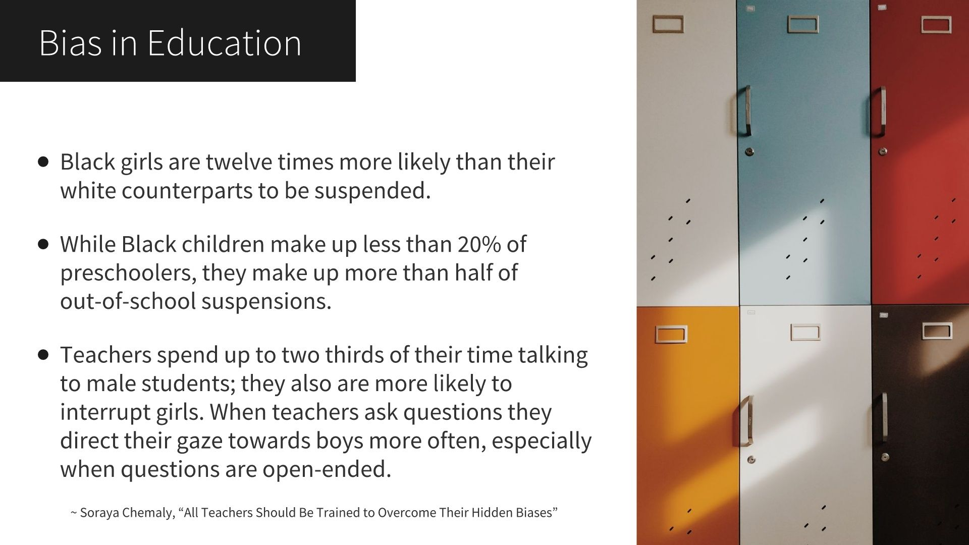 """Data from Soraya Chemaly's """"All Teachers Should Be Trained to Overcome Their Hidden Biases. Text below."""